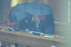 Talmannen Volodymyr Lytvyn skyddas mot äggkastning. Foto: Ukrainska Pravda