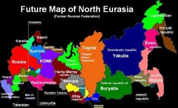 Så här vill fienderna stycka upp Ryssland, hävdas det i propagandan. En karta på engelska ska göra påståendet mer trovärdigt.