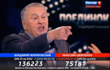 Zjirinovskij skriker om taggtråd.