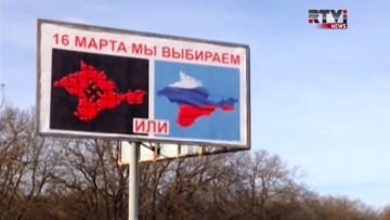 Valreklam på Krim inför folkomröstningen. (Skärmdump från RTVi)
