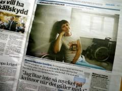 Artikeln i Sydsvenskan. Foto: Anna Bank