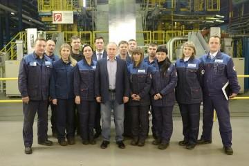 Putin möter arbetare i Tjerepovets. Foto: Kremlin.ru