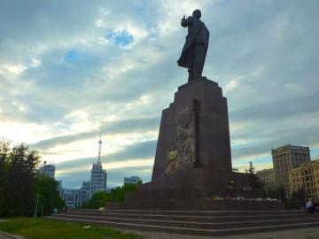 Leninstatyn i Charkiv när den fortfarande stod kvar 2014.