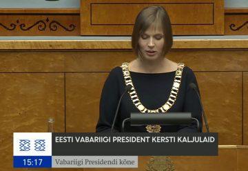 Kersti Kaljulaid håller sitt första tal som president i estniska parlamentet.